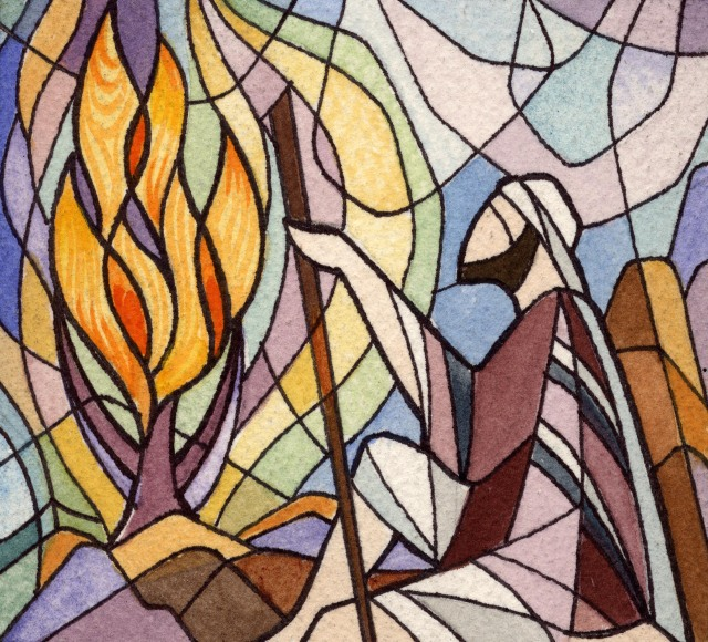 Burning-Bush 2 stained glass